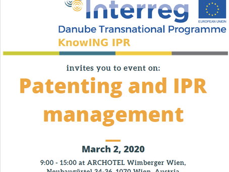 SAVE THE DATE Patenting and IPR management event