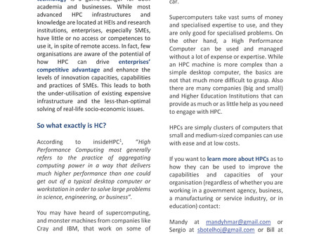 SME/HPC project Newsletter 1 - High Performance Computing