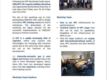 SME/HPC project Newsletter 3 - HEI Capacity Building Workshop