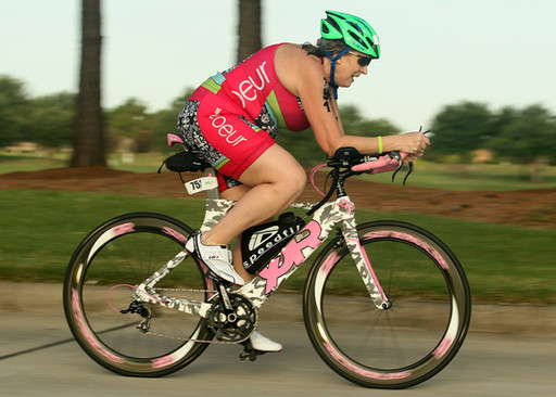 Kathy riding to another podium