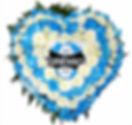 Coroa de Flores  Do Grêmio em formato coração  Crisântemos brancos e tingidos