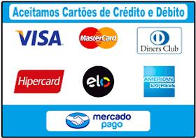 Mercado Pago. Aceita cartões de Crédito e débito. Visa, MaterCad, Elo, Hipercard, Diners Club e American Express