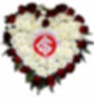 Coroa de Flores  Do Internacional em formato coração  Crisântemos e rosas vermelhas