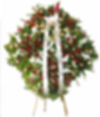 Coroa de Flores  Palmas, rosas coloridas e  mosquitinhos