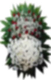 Coroa de Flores  Crisântemos e rosas vermelhas  