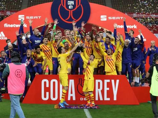 Barcelona grauj Athletic un izcīna Karaļa kausu, Real klūp un Sevilja pievienojas cīņā par titulu