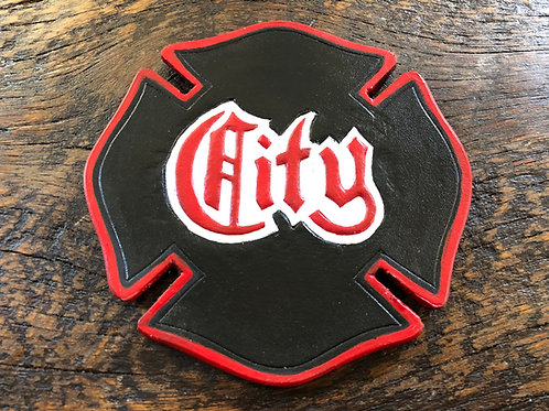 Fireman Cross Leather Coaster