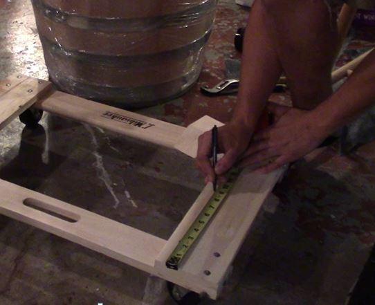 Homemade Oak Barrel Dolly