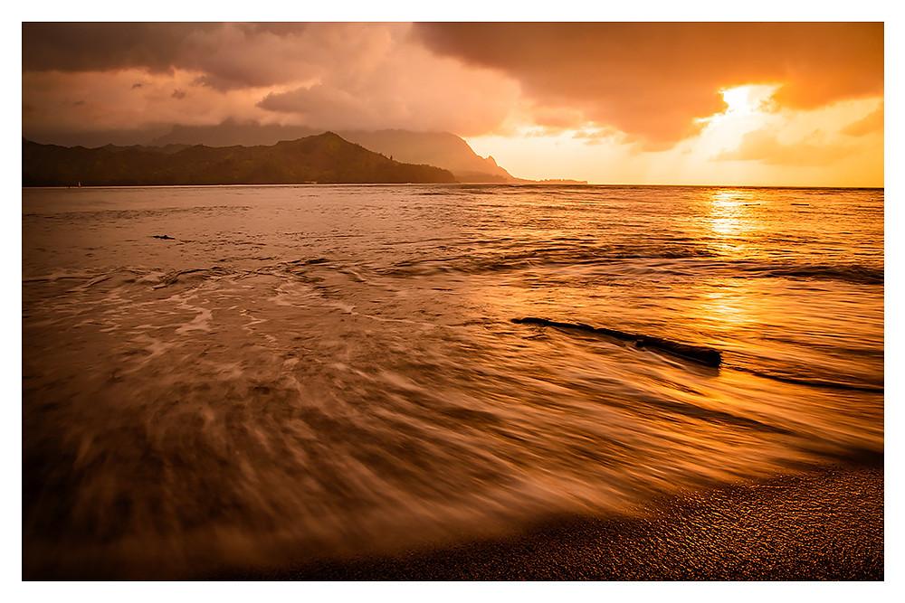 Puu Poa Beach Sunset, Kauai - Copyright Dan Rice 2018