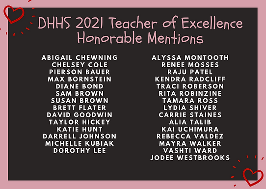 Teacher of Excellence Honorable Mentions