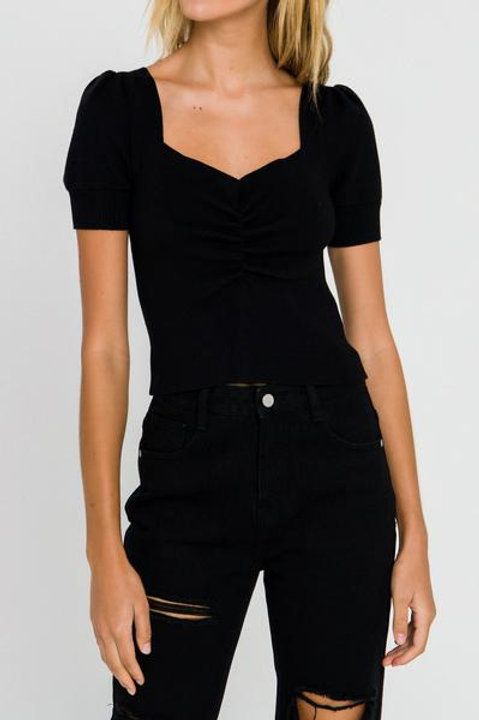 Ruched Front Knit Top