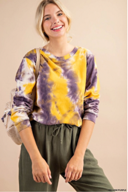 purple and gold tie dye top