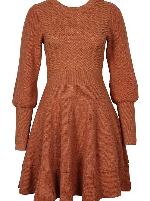 Rust Knit Mini Dress