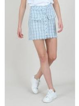 blue tweed mini skirt