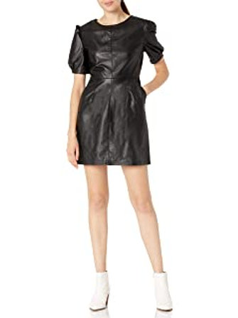 Leather-like puff sleeve dress