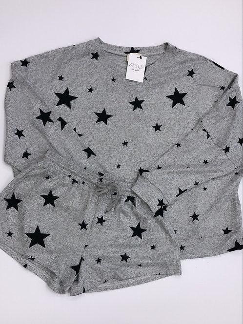 Star print lounge shorts set