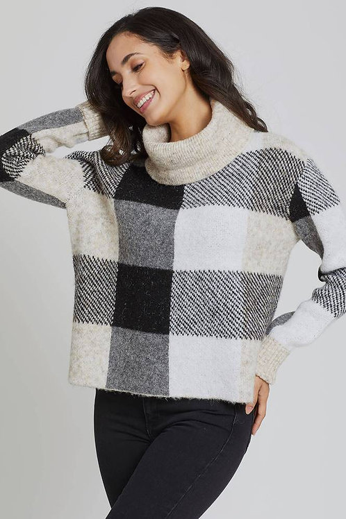 Grey and Sand Checkered sweater