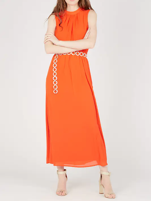 red coral maxi dress