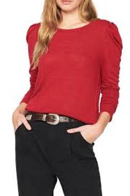 Tartan red pleated long sleeve top