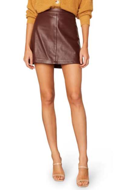Marrie Leather Skirt in Bitter Chocolate
