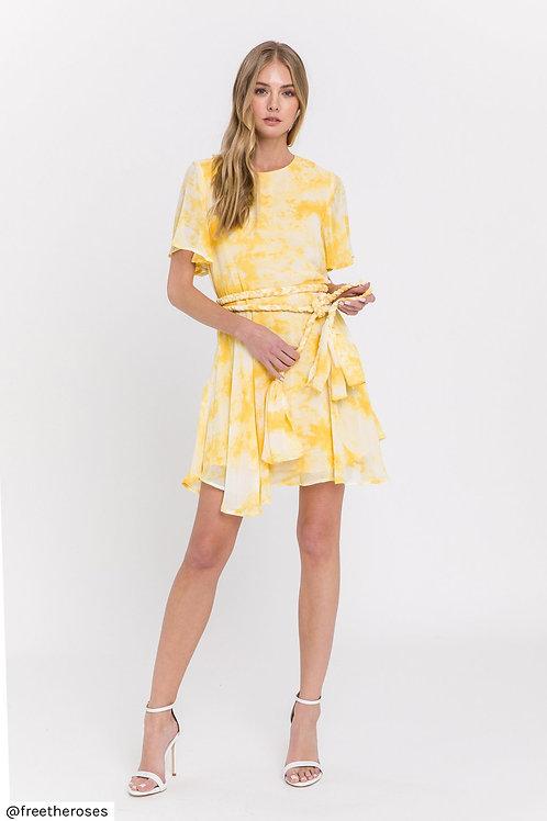 Yellow Tie Dye Dress with Braided Belt