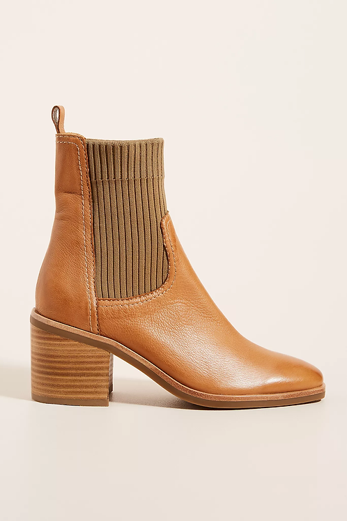 Ava Tan Leather Knit Bootie