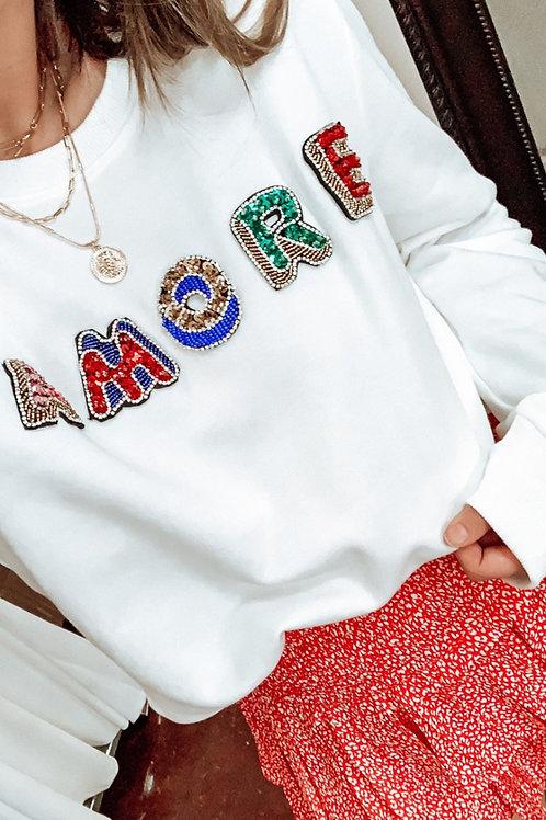 Amore Beaded Letter Sweatshirt