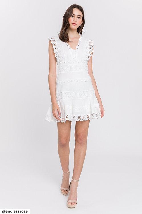 Lace Trim Dress - White