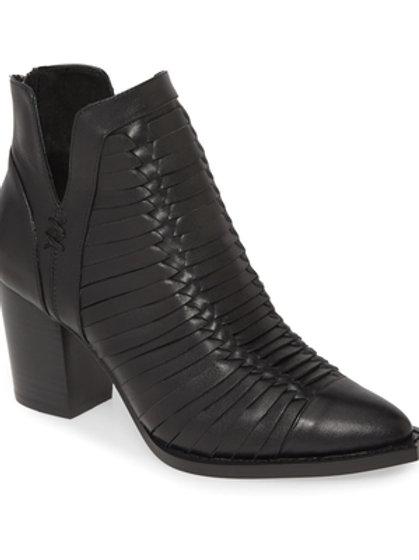 Leanah Black Leather Bootie