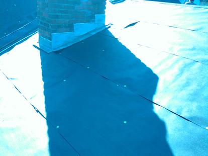 Shingle underlayment felt step flashed chimney