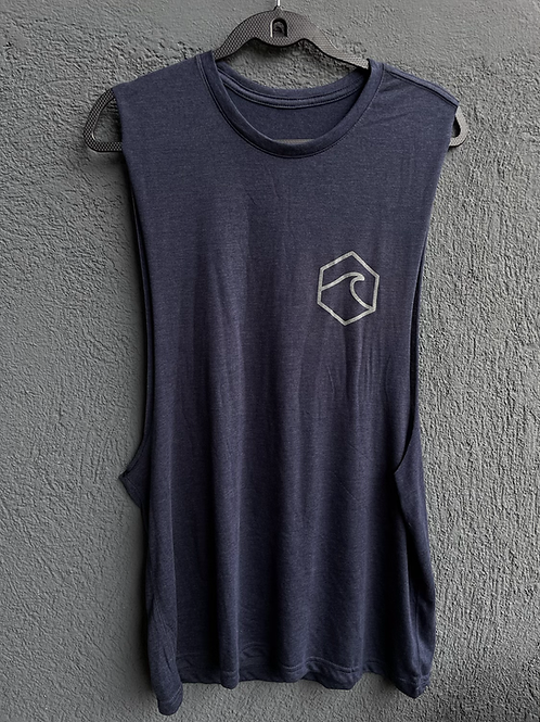 Blue Basic Muscle T-Shirt