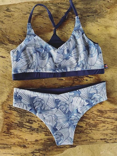 Bikini sport | tropical blue print