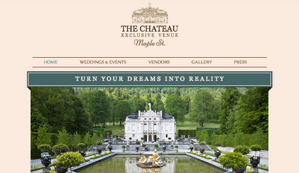 Events website templates – Wedding Venue