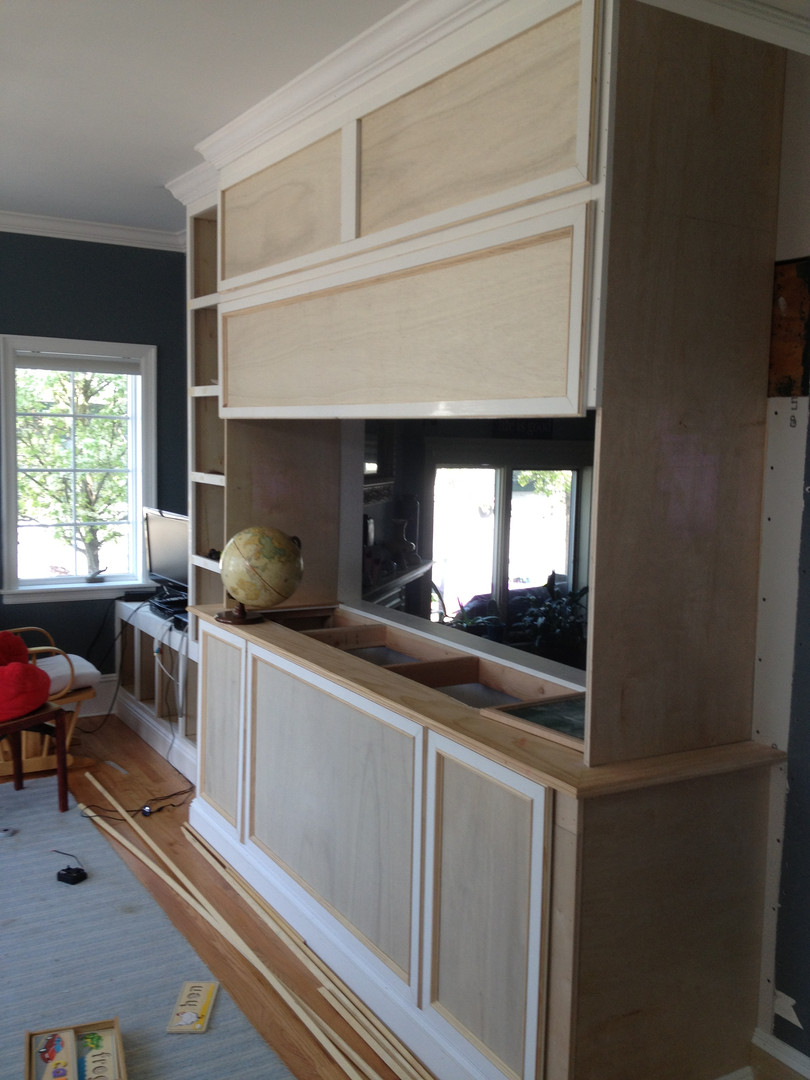 Custom aquarium cabinetry construction