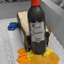 Wine & Cheese Birthday cake- fondant wine bottle