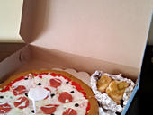 Pizza with garlic knots