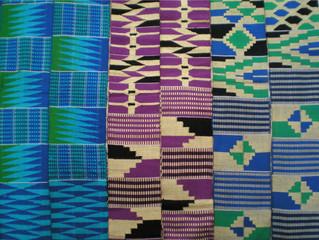 Kenté and woven geometric strip cloths