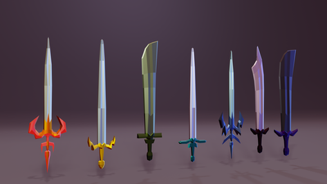 Low-poly sword models for a 2.5d game