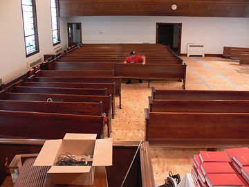 church pew installation
