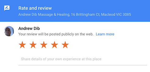 Andrew Dib Massage & Healing Google Star Rating
