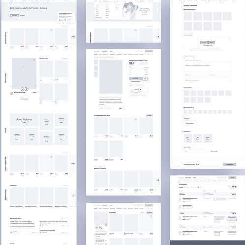 5 pages Desktop Wireframes Designing