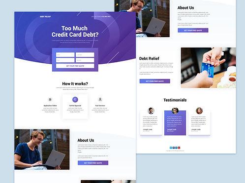 Unique Debt Relief lead pages design