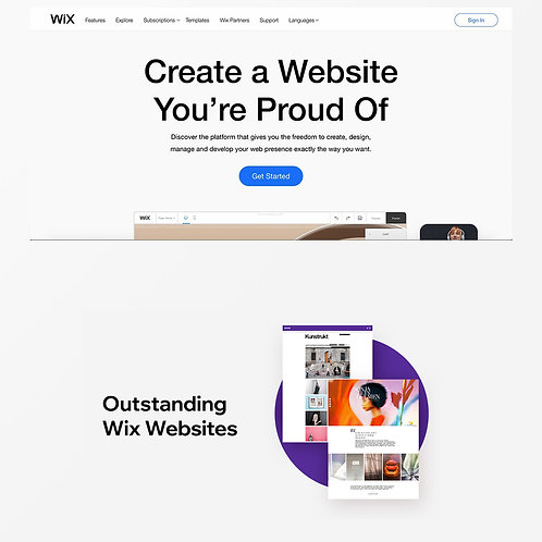 A Designer Wix website; one long scrolling page