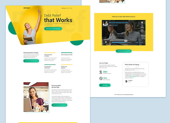 Custom & Unique Debt Relief lead pages design