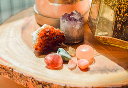 Crystals on wooden side table