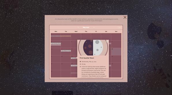 Interactive Astrology Calendar