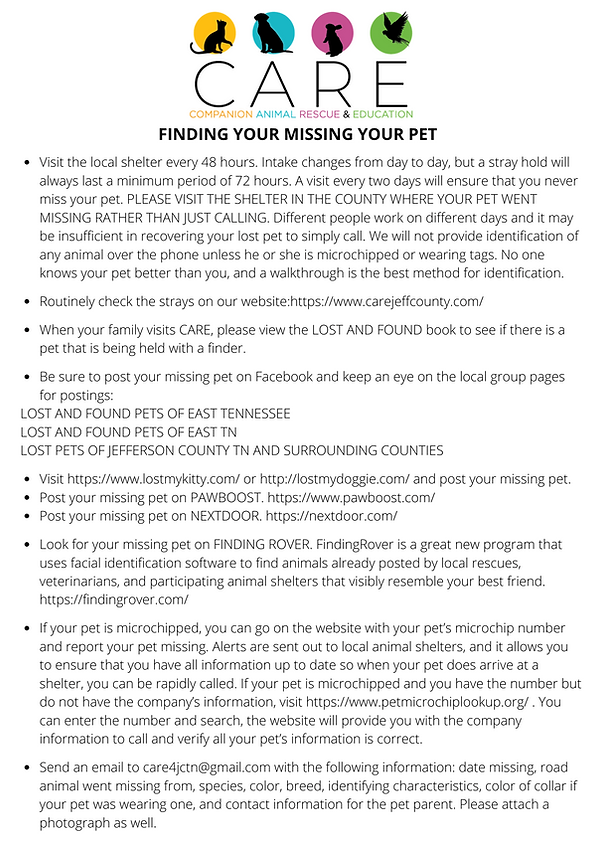 FINDING YOUR MISSING YOUR PET Visit the