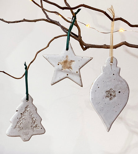 Set of three flecked stoneware Christmas decorations