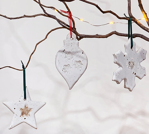 Flecked stoneware Christmas decorations
