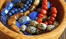 Beautiful semiprecious stone beads in wo
